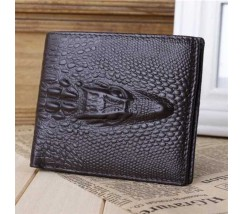 Чоловік шкіряний гаманець з крокодилом коричневий