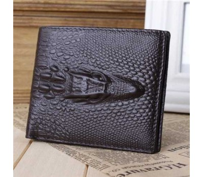 Мужской кожаный кошелек с крокодилом коричневый