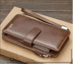 Чоловічий клатч портмоне світло-коричневий