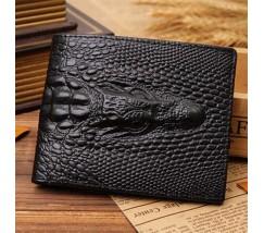 Мужской кожаный кошелек с крокодилом черный