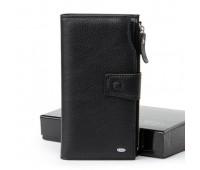 Шкіряний чоловічий великий гаманець чорний