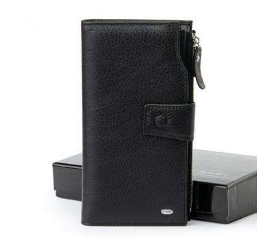 Кожаный мужской большой кошелек черный