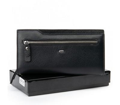 Большой мужской кожаный кошелек черный