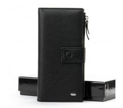 Шкіряний великий чоловічий гаманець чорний