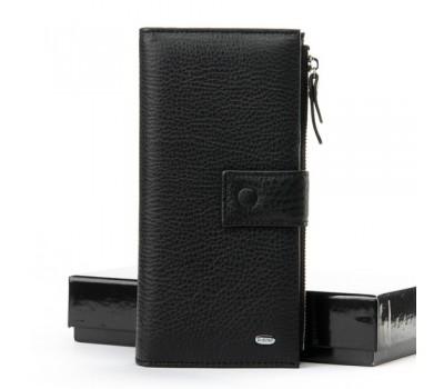 Кожаный большой мужской кошелек черный