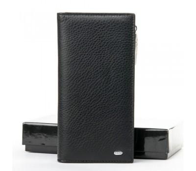 Большой кожаный мужской кошелек черный