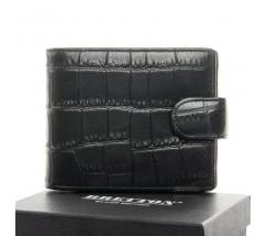Чоловічий шкіряний гаманець під шкіру крокодила чорний