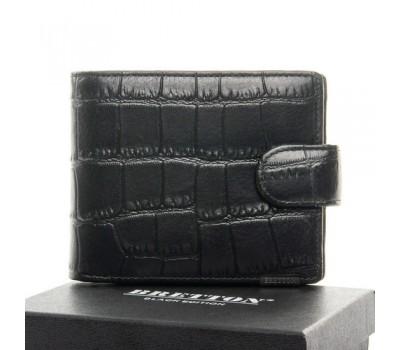 Мужской кожаный кошелек под кожу крокодила черный