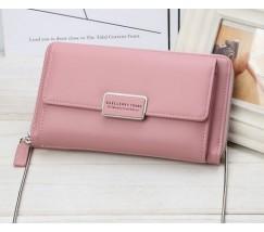 Женский кошелёк-клатч на цепочке розовый