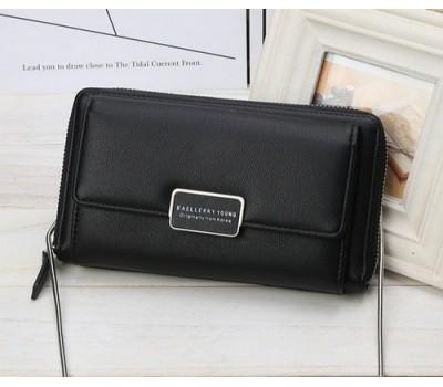 Женский кошелёк-клатч на цепочке черный