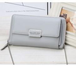 Жіночий гаманець-клатч на ланцюжку сірий