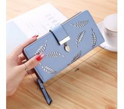 "Жіночий клатч гаманець ""Листочок"" блакитний"