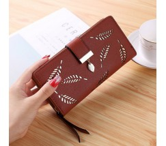 "Жіночий клатч гаманець ""Листочок"" коричневий"