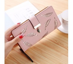 """Жіночий клатч гаманець """"Листочок"""" рожевий"""