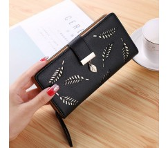 "Жіночий клатч гаманець ""Листочок"" чорний"