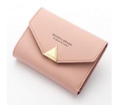 Жіночий маленький гаманець на кнопці рожевий