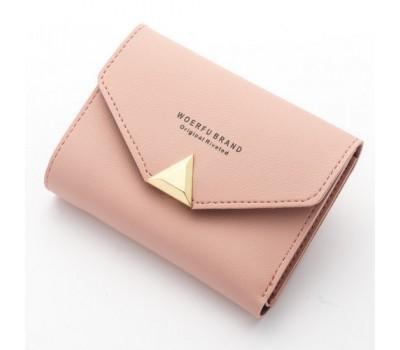 Женский маленький кошелёк на кнопке розовый