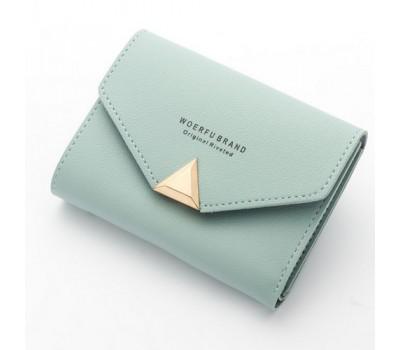Женский маленький кошелёк на кнопке голубой