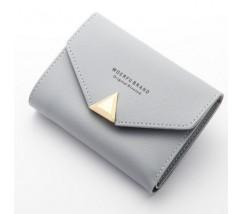 Женский маленький кошелёк на кнопке светло-серый