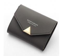 Жіночий маленький гаманець на кнопці темно-сірий