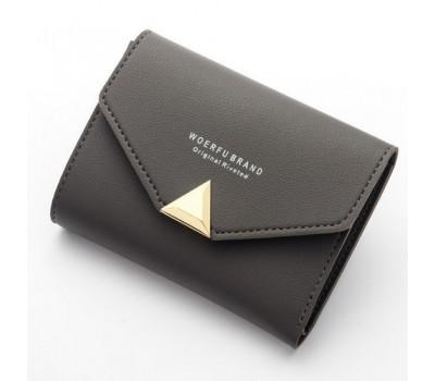 Женский маленький кошелёк на кнопке темно-серый