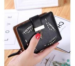 """Жіночий маленький гаманець """"Листочок"""" чорний"""