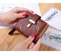 """Жіночий маленький гаманець """"Листочок"""" коричневий"""