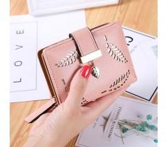 """Жіночий маленький гаманець """"Листочок"""" рожевий"""
