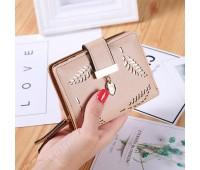 """Жіночий маленький гаманець """"Листочок"""" бежевий"""