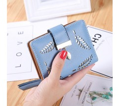 """Жіночий маленький гаманець """"Листочок"""" блакитний"""