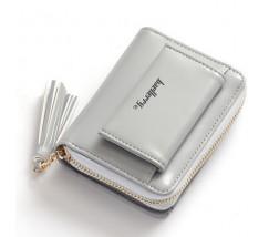 Женский маленький кошелёк на два отделения серый