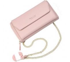 Клатч-портмоне жіночий 2в1 на ремінці рожевий