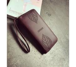 Стильный женский кошелек клатч коричневый