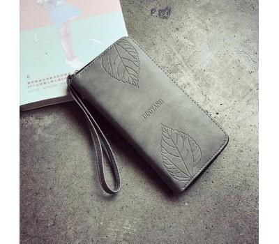 Стильный женский кошелек клатч серый