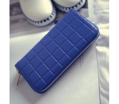Женский кошелек клатч в клетку синий