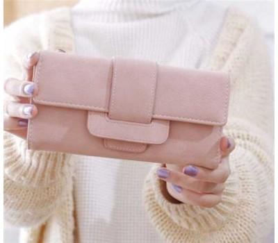 Модный женский кошелек-клатч с кожзама розовый