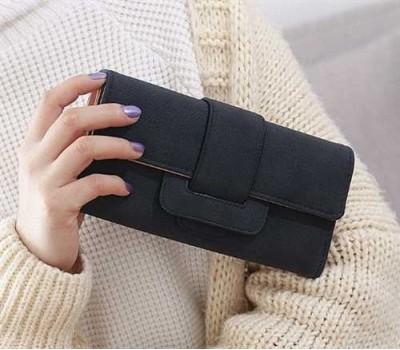Модный женский кошелек-клатч с кожзама черный