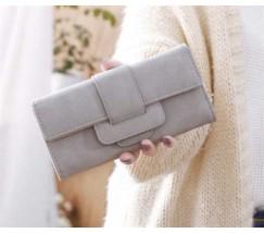 Модный женский кошелек-клатч с кожзама серый