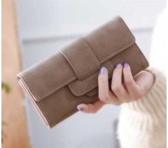Модный женский кошелек-клатч с кожзама коричневый