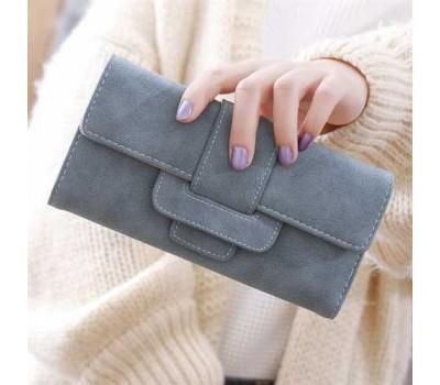 Модный женский кошелек-клатч с кожзама синий