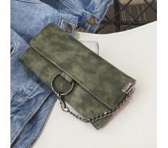 Модный женский клатч кошелек с цепочкой зеленый
