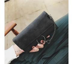 Модный женский клатч кошелек с цепочкой черный