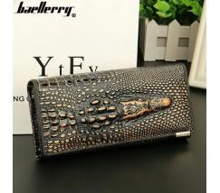 Жіночий гаманець портмоне Крокодил чорно-золотий