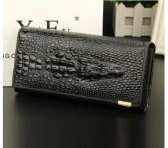 Жіночий гаманець портмоне Крокодил чорний