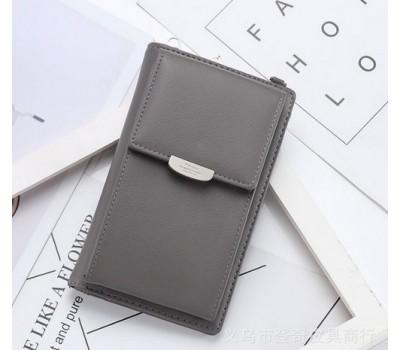 Женский маленький клатч портмоне серый