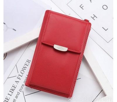 Женский маленький клатч портмоне красный
