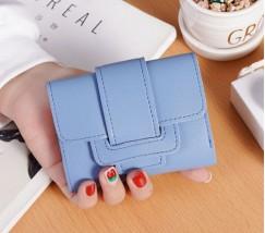 Женский маленький кошелек из кожзама голубой