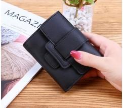 Жіночий маленький гаманець зі шкірозамінника чорний