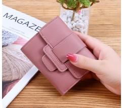 Женский маленький кошелек из кожзама темно-розовый