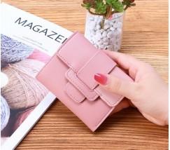 Женский маленький кошелек из кожзама светло-розовый
